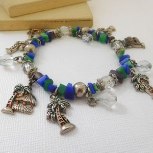 Retro Blue Green Cats Eye Bead Palm Charm Bracelet